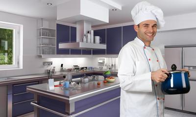 Chef in modern kitchen