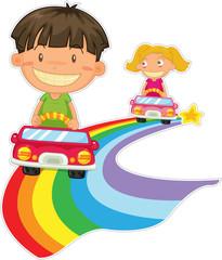 Spoed Foto op Canvas Regenboog kids