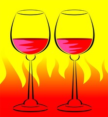 Illustration of two goblets with red wine