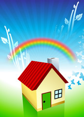 House on Rainbow Environmental Conservation Background