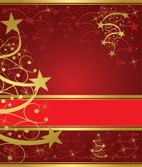 abstract gold christmas tree on red background
