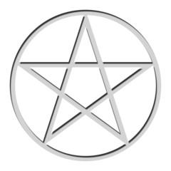 Pentagramm grau auf weissem Hintergrund mit Schatten nach Innen