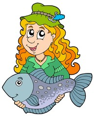 Fisherwoman holding big fish