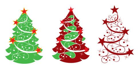 three abstract christmas tree with stars
