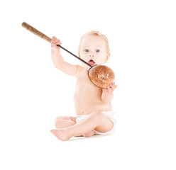 baby boy with big scoop