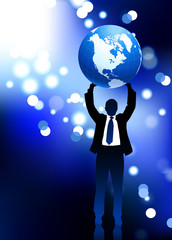 Businessman holding up globe lens flare internet background