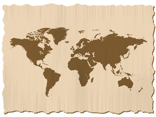 world map on scratched paper in frame