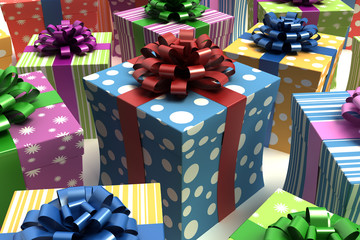 Colorful cartoon gift boxes