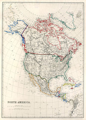 "Old map of North America, Alaska as ""Russian Territory"", 1850."