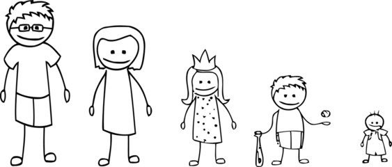 Stick figure family in black and white
