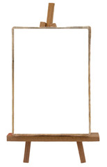 Artist's easel with blank white canvas
