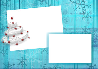 Framework for a photo or invitations. Christmas background.