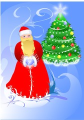 Beauty christmas card of a Santa.