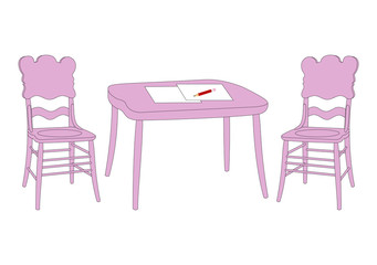 Vector chairs and table