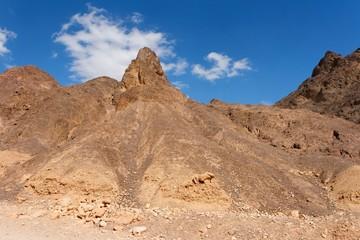 Scenic triangular rocks in stone desert near Eilat in Israel