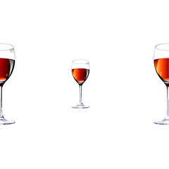 Three glasses with red wine.Vector illustration