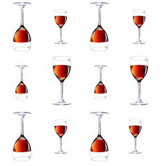 Twelve glasses with red wine.Vector illustration