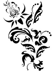 black abstract floral tattoo print