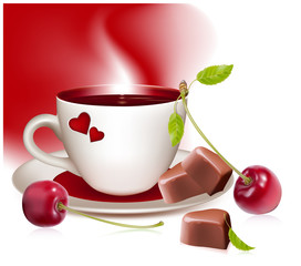 Cup of tea (coffee), heart-shaped chocolates and ripe cherries.
