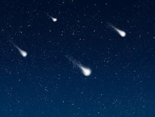 shooting stars in night sky