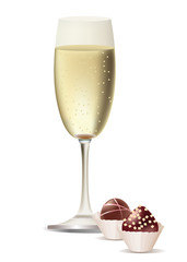 A vector glass of champagne and sweets