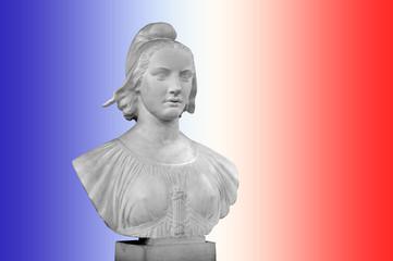 Buste de Marianne, fond bleu blanc rouge