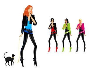 Set of beautiful fashionable glamour girls with a cat