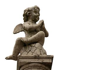 Engels-Statue, freigestellt auf weißem Hintergrund