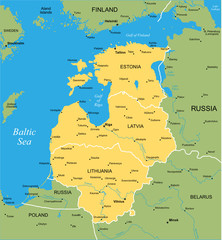 Vector color map of Baltic states