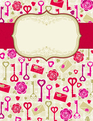 beige valentine background with roses and keys