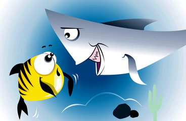 Illustration of hunting shark is attacking a fish