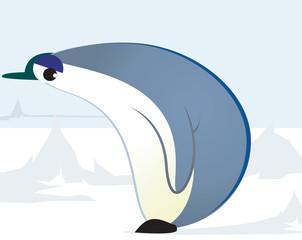 Illustration of a penguin walking through ice
