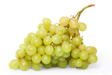 Branch of green grapes on the white background