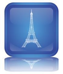 """Bouton """"Tour Eiffel"""" (Paris - France - Tourisme - Symbole)"""