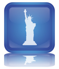"Bouton ""Statue de la Liberté"" (New York - USA - Tourisme)"