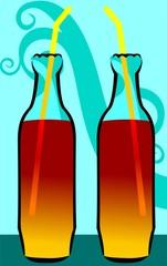Illustration of two bottles  of orange juice