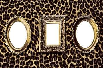 Golden frames on leopard skin background