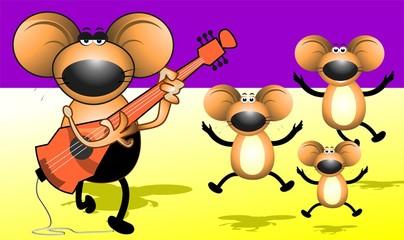 Illustration of rat plying  with violin