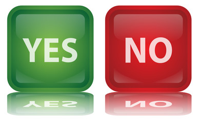 """Yes"" & ""No"" Buttons (Survey – Positive – Negative - Vector)"