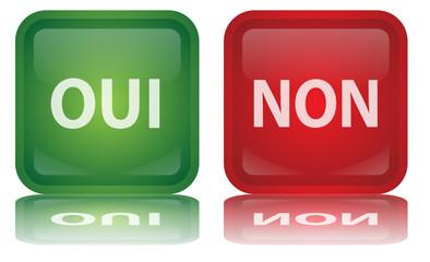 """Boutons """"Oui"""" & """"Non"""" (Vote - Positif - Négatif - vecteur)"""