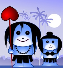 Illustration of a tribal couple