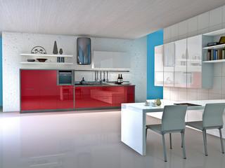 Modern kitchen interior. Made in 3d.
