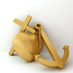 heart cross anchor 3d illustration