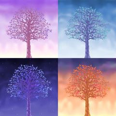 Four sky trees - morning, day, evening and night