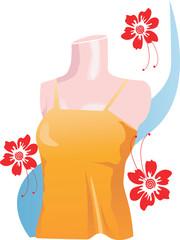 Illustration of Ladies dress displayed on floral background