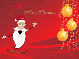 xmas background with cartoon santa, hanging balls