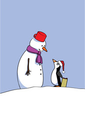 snowman and the penguin