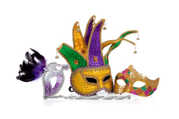 Wall Mural - Several mardi gras masks on white with copy space