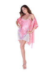 Beautiful young woman in pink nightgown