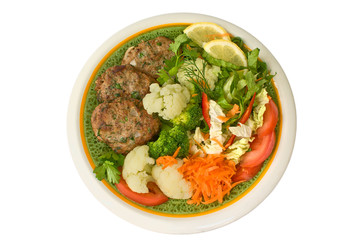 meat rissoles with vegetables